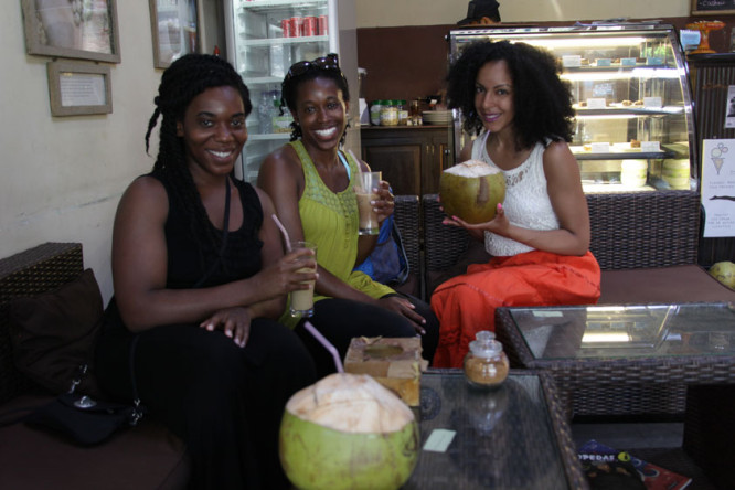 Stopping for a refreshing drink in a local cafe in Ubud, Bali. Sustainable Travel Tip: Support Local Businesses