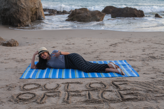 """My Out of Office message written in the sand! Read the blog post: """"Boss Detox: How to Leave Work Behind on Vacation"""""""