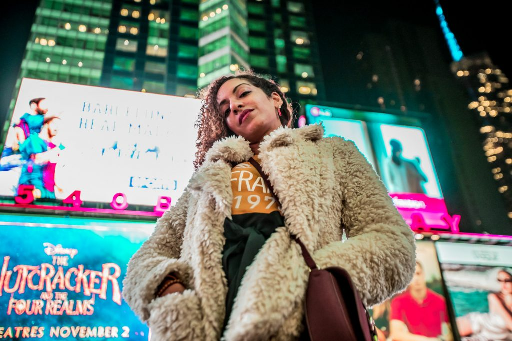Times Square, NYC (FYI: Jacket is faux fur, always)
